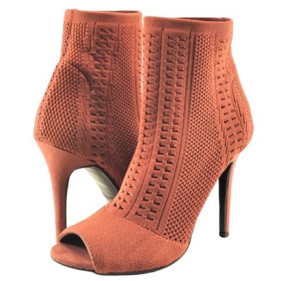 Anne Michelle Open Knit Peep Toe Ankle Booties
